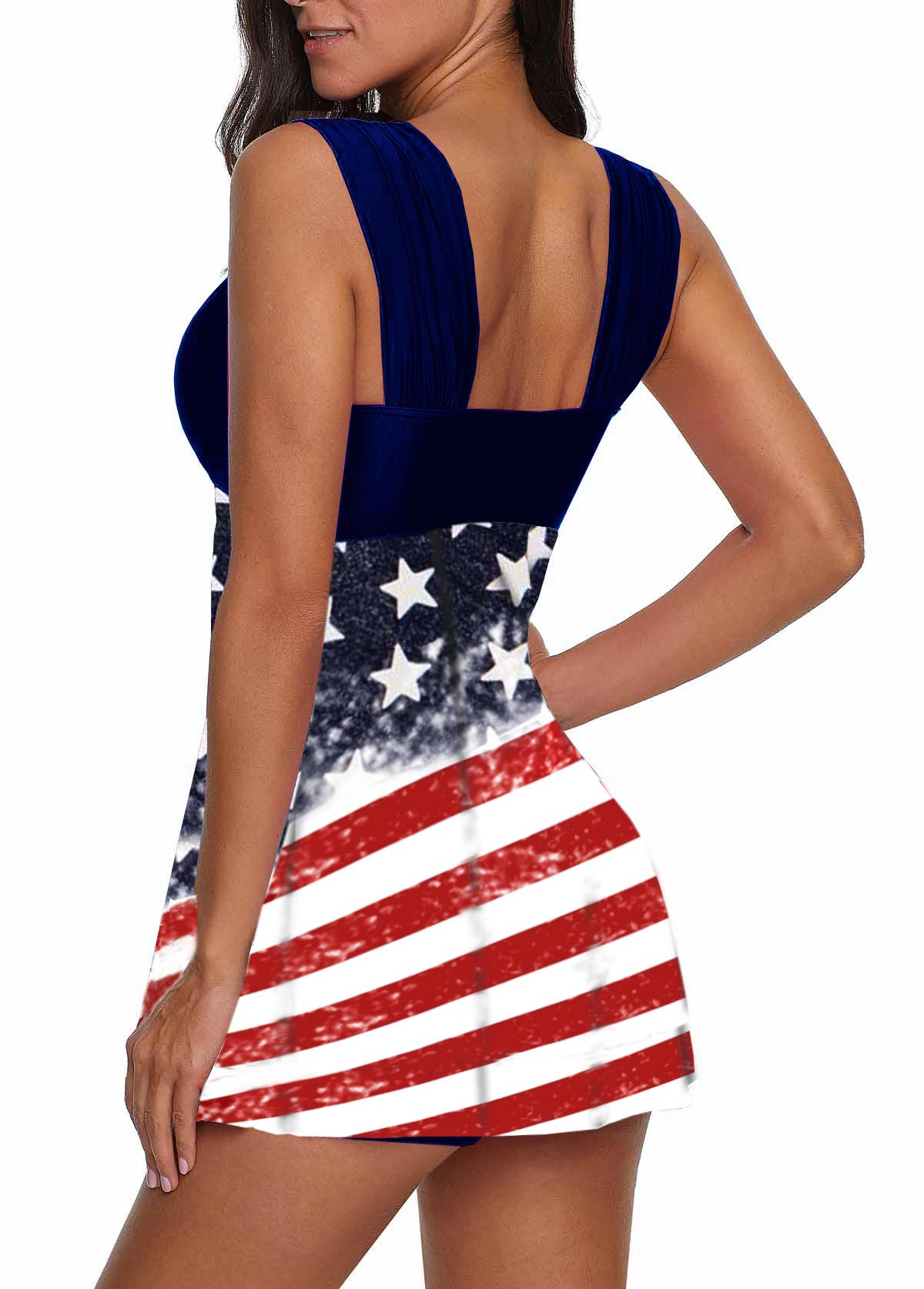 Navy Blue Wide Strap American Flag Print Swimdress and Shorts