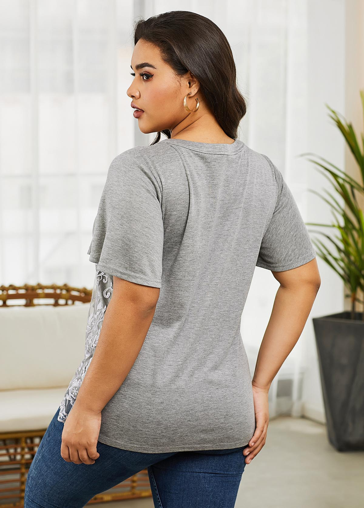Short Sleeve Grey Plus Size V Neck T Shirt
