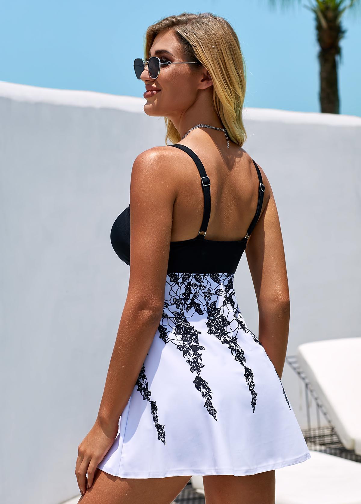 Spaghetti Strap Lace Panel Printed Swimdress and Shorts