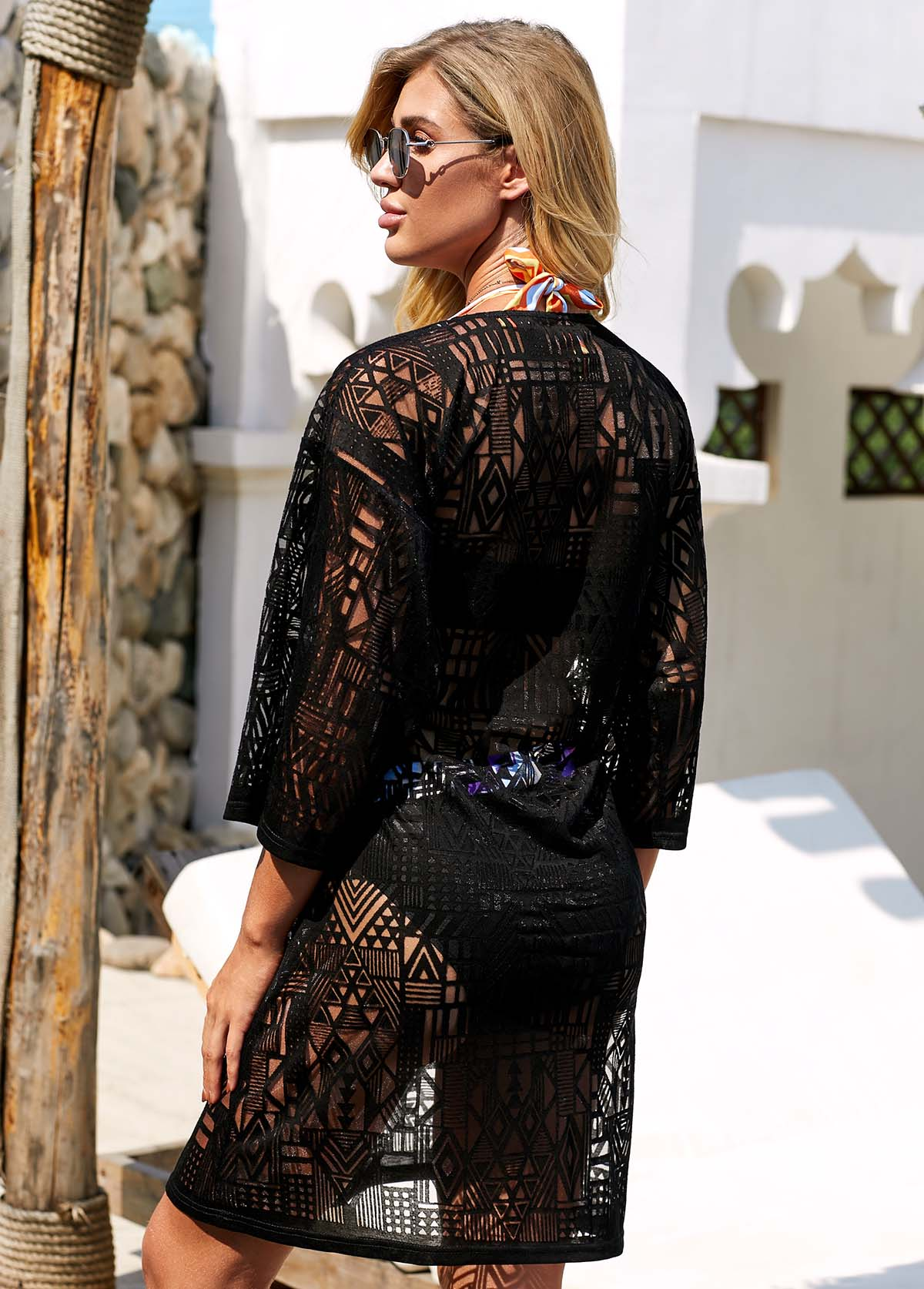 Three Quarter Sleeve Tie Front Black Lace Cover Up
