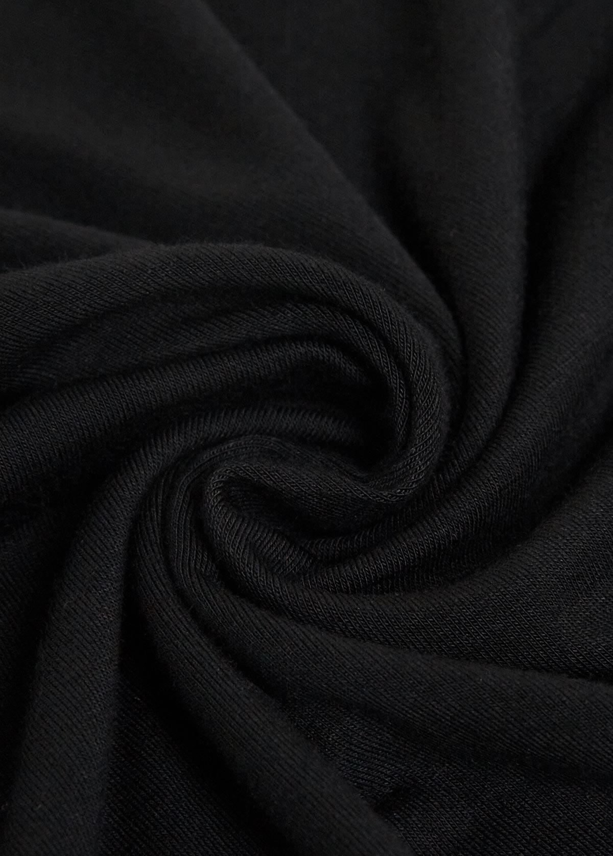 Short Sleeve Black Round Neck Pajama Set