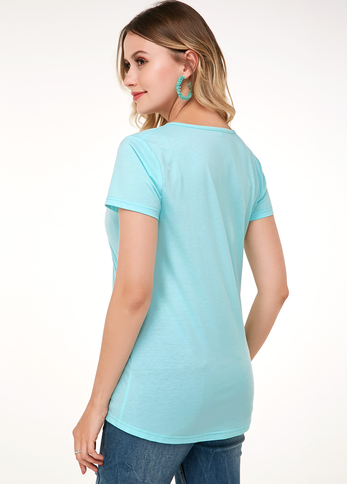 Mint Green Short Sleeve Lace Panel Soft T Shirt