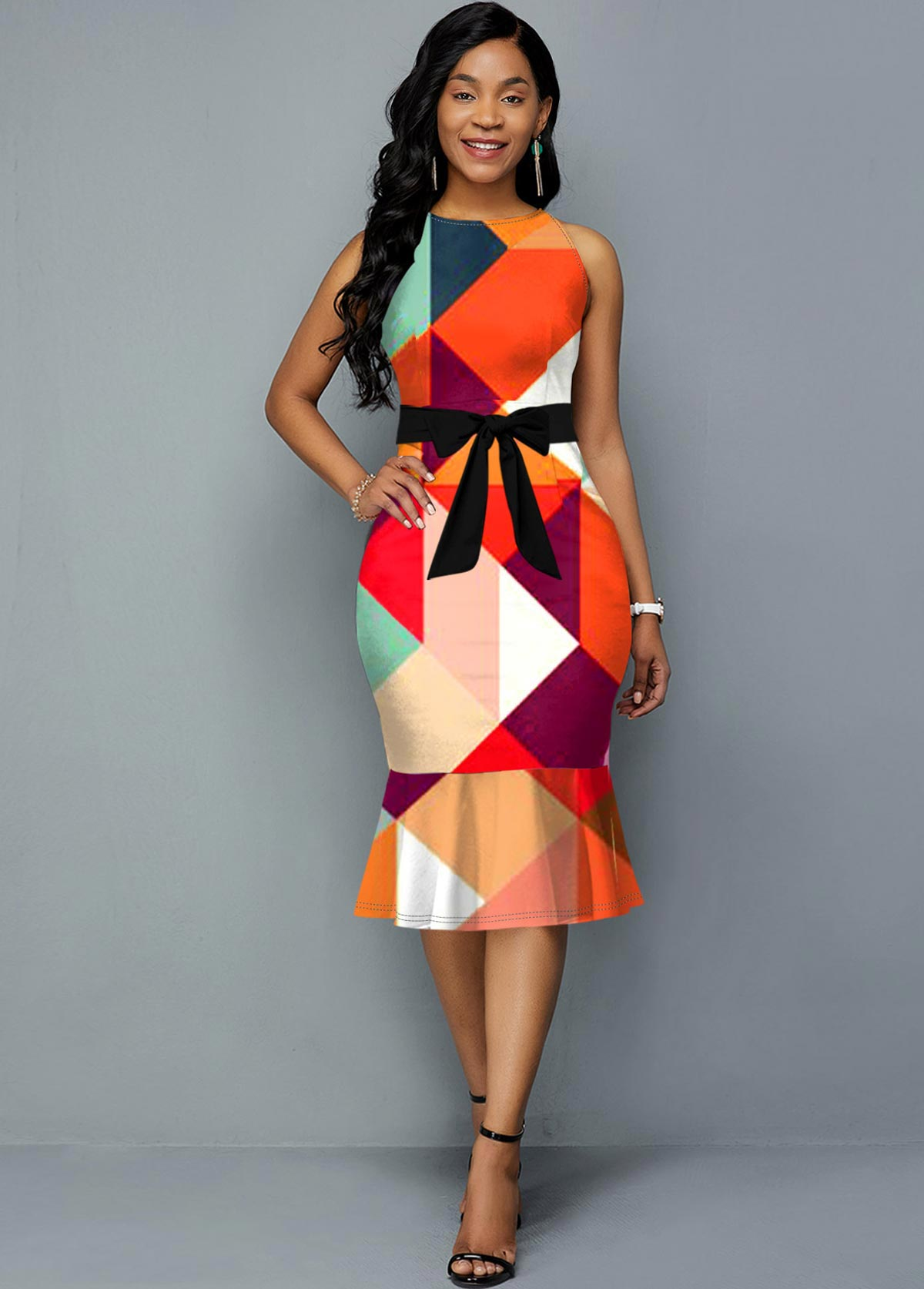 Sleeveless Geometric Print Belted Dress