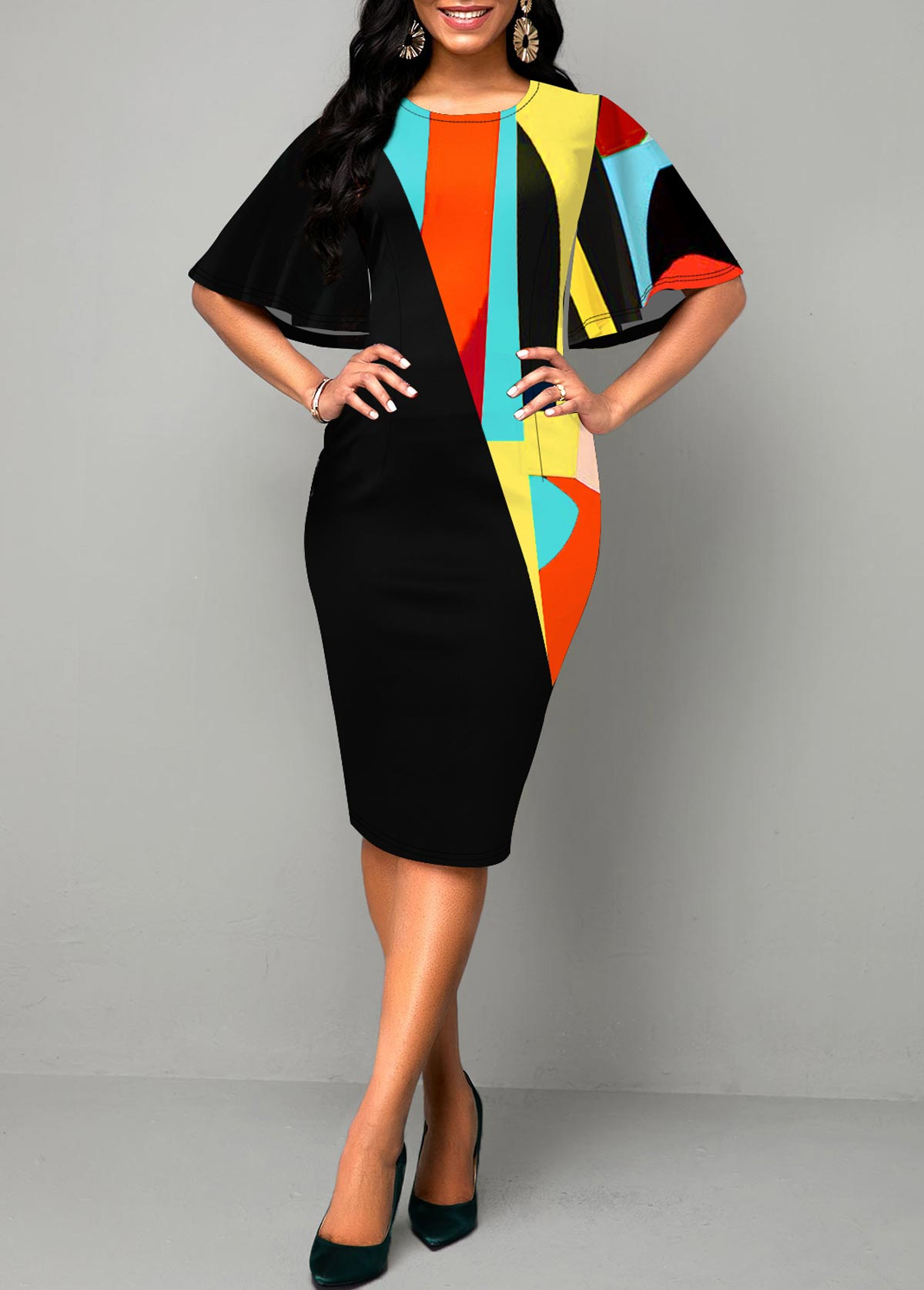 Flare Sleeve Round Neck Geometric Print Dress