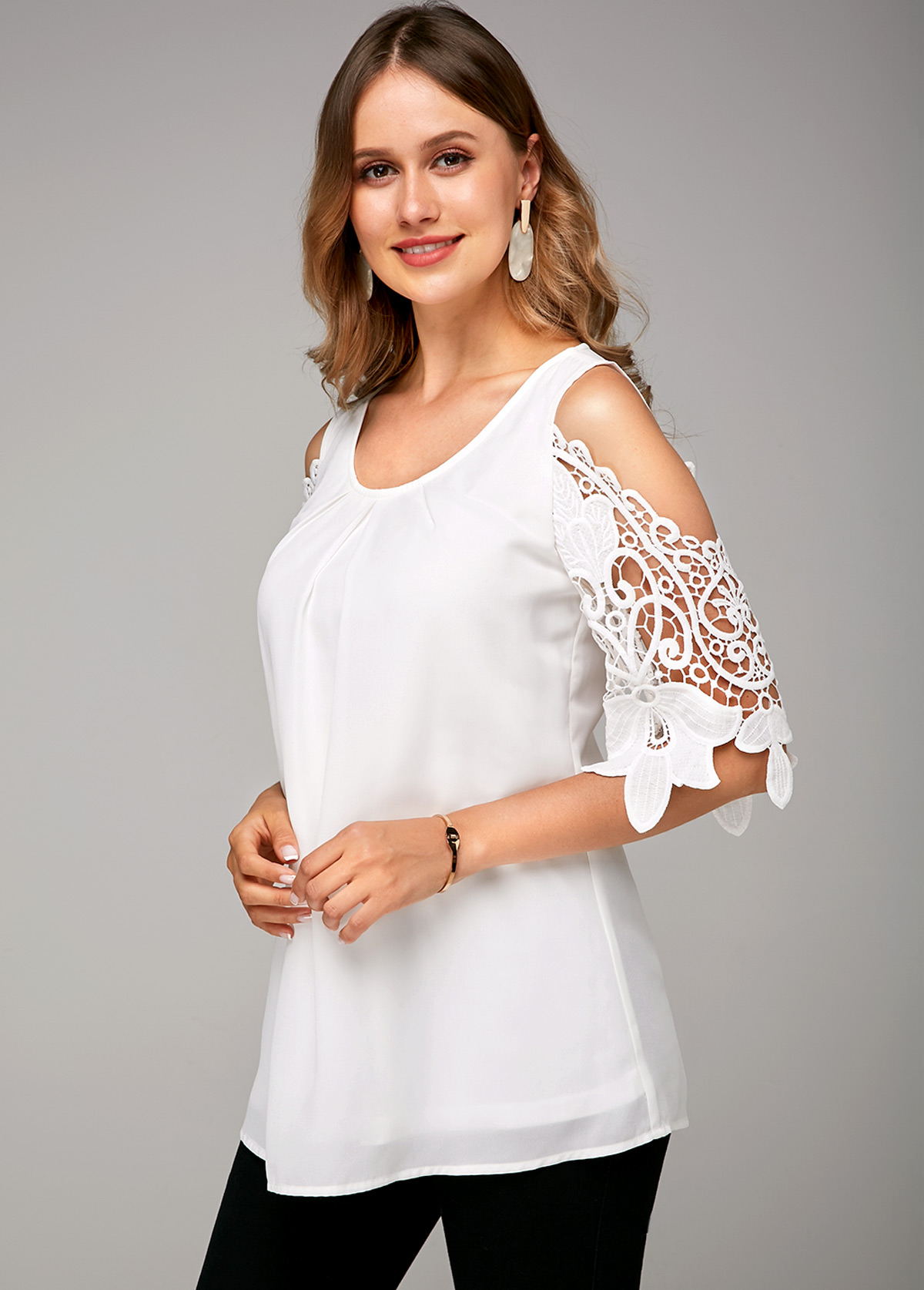 White Cold Shoulder Lace Stitching Soft Blouse