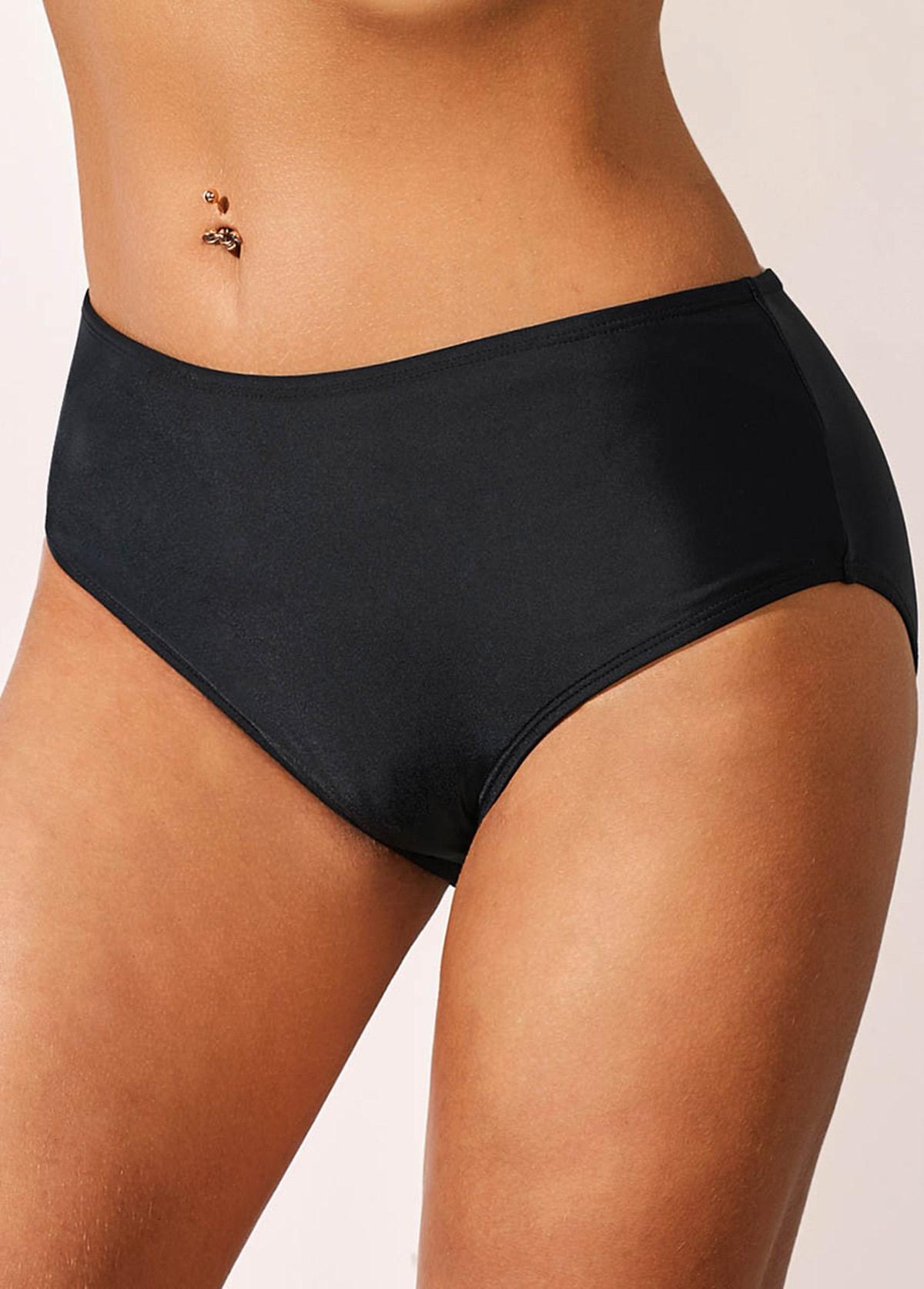 Mid waist Carry Buttock Black Swimwear Panty