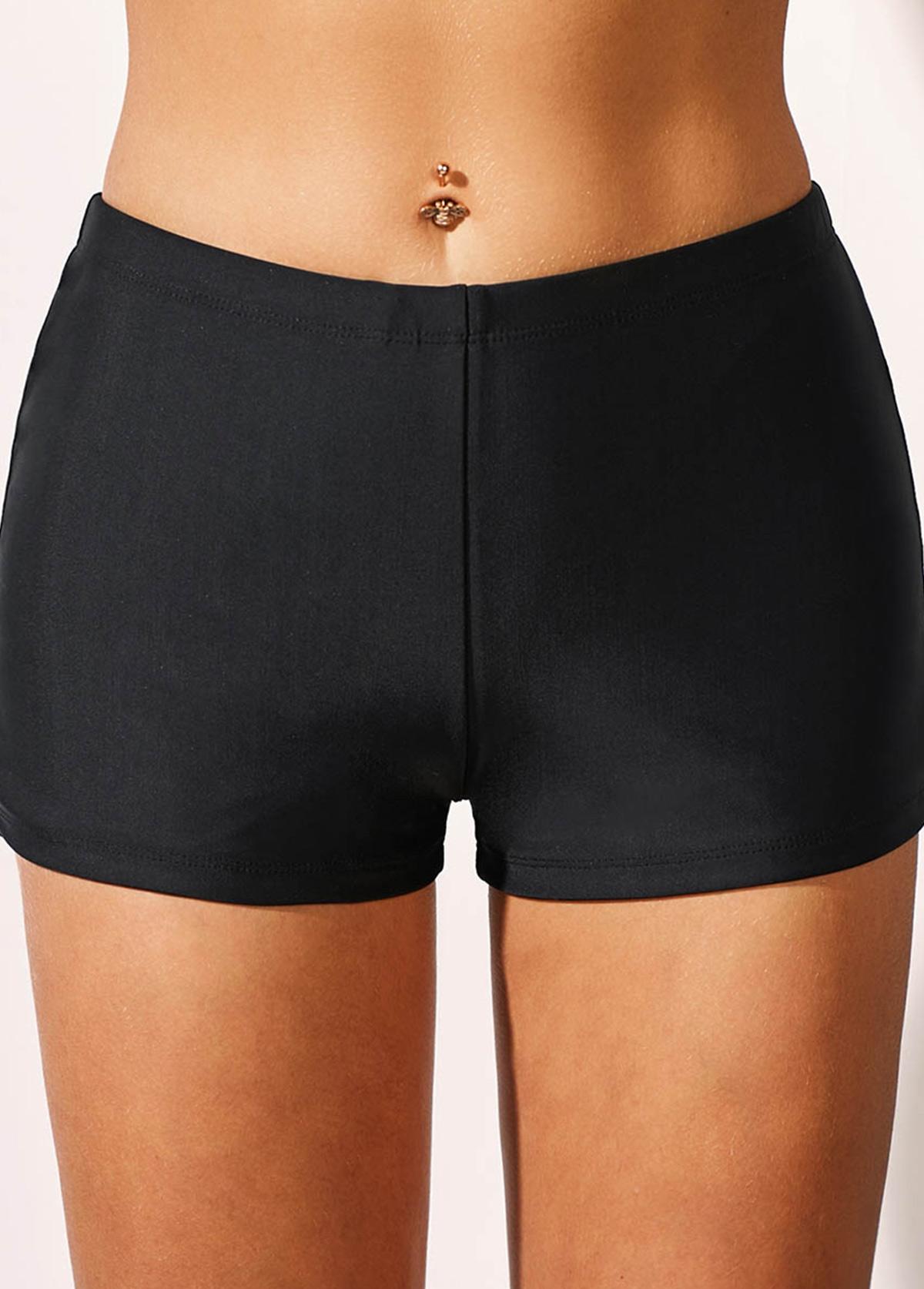 Basic Black Mid Waist Swimwear Shorts