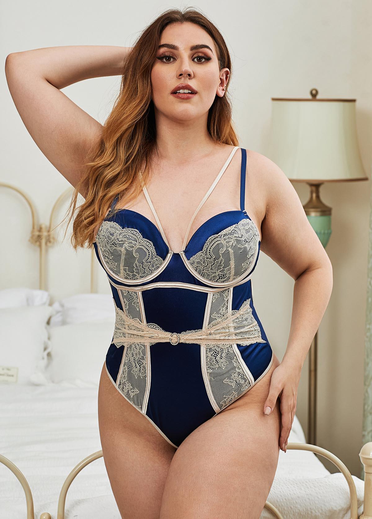 Spaghetti Strap Lace Panel  Plus Size Bodysuit