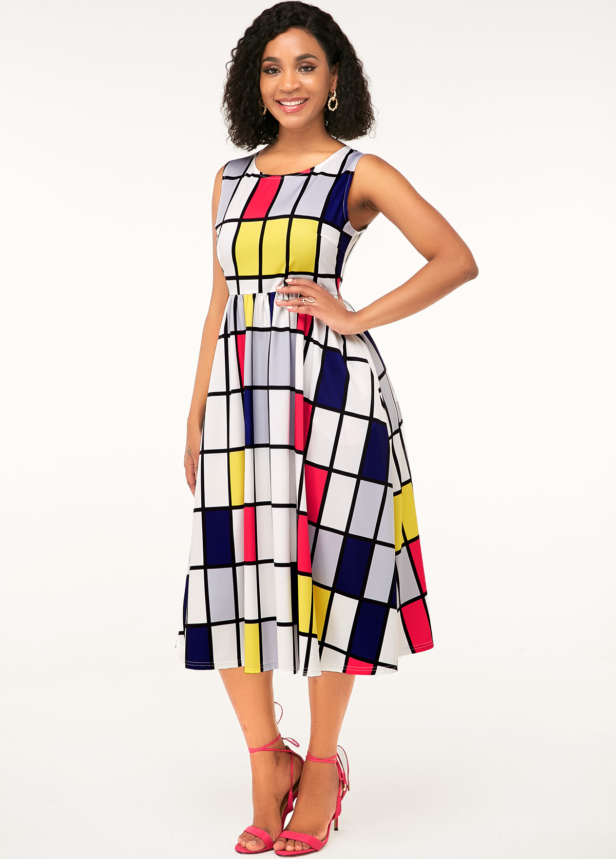 Sleeveless Geometric Print Side Pocket Dress