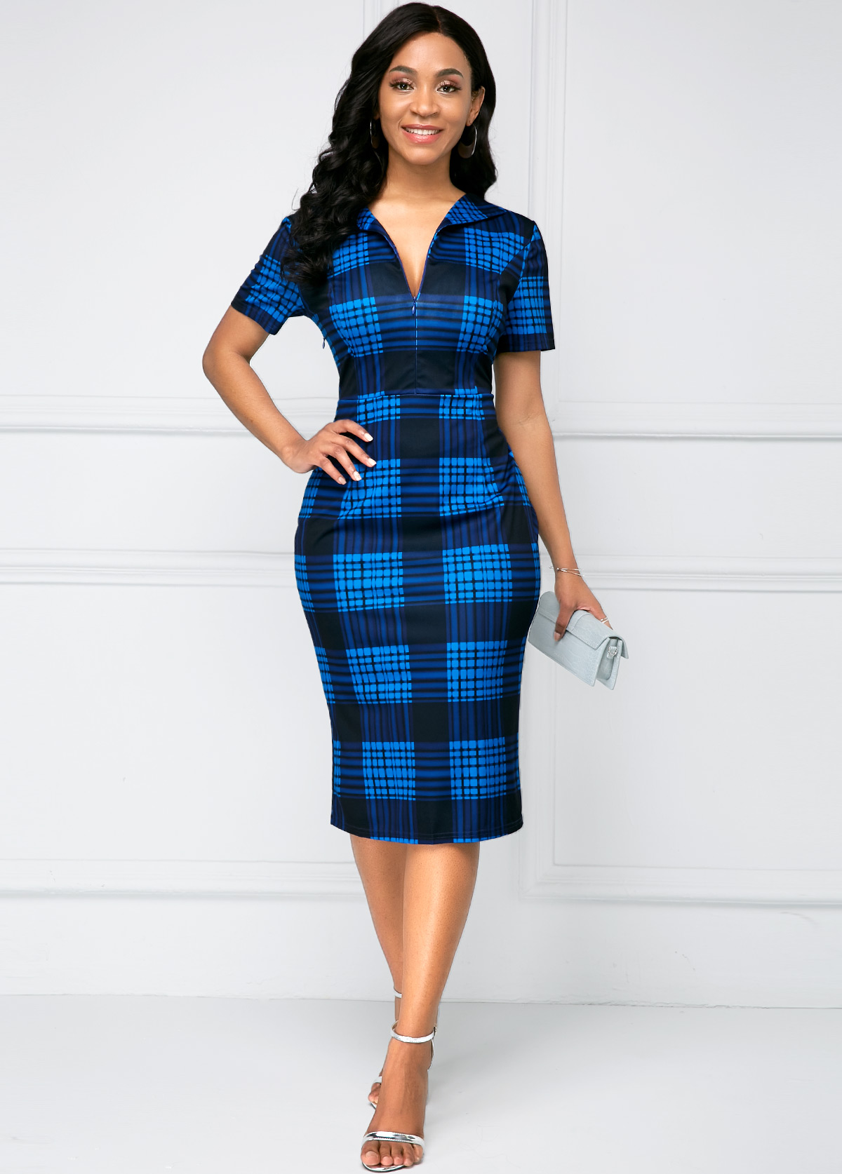 Short Sleeve Deep V Neck High Waist Dress