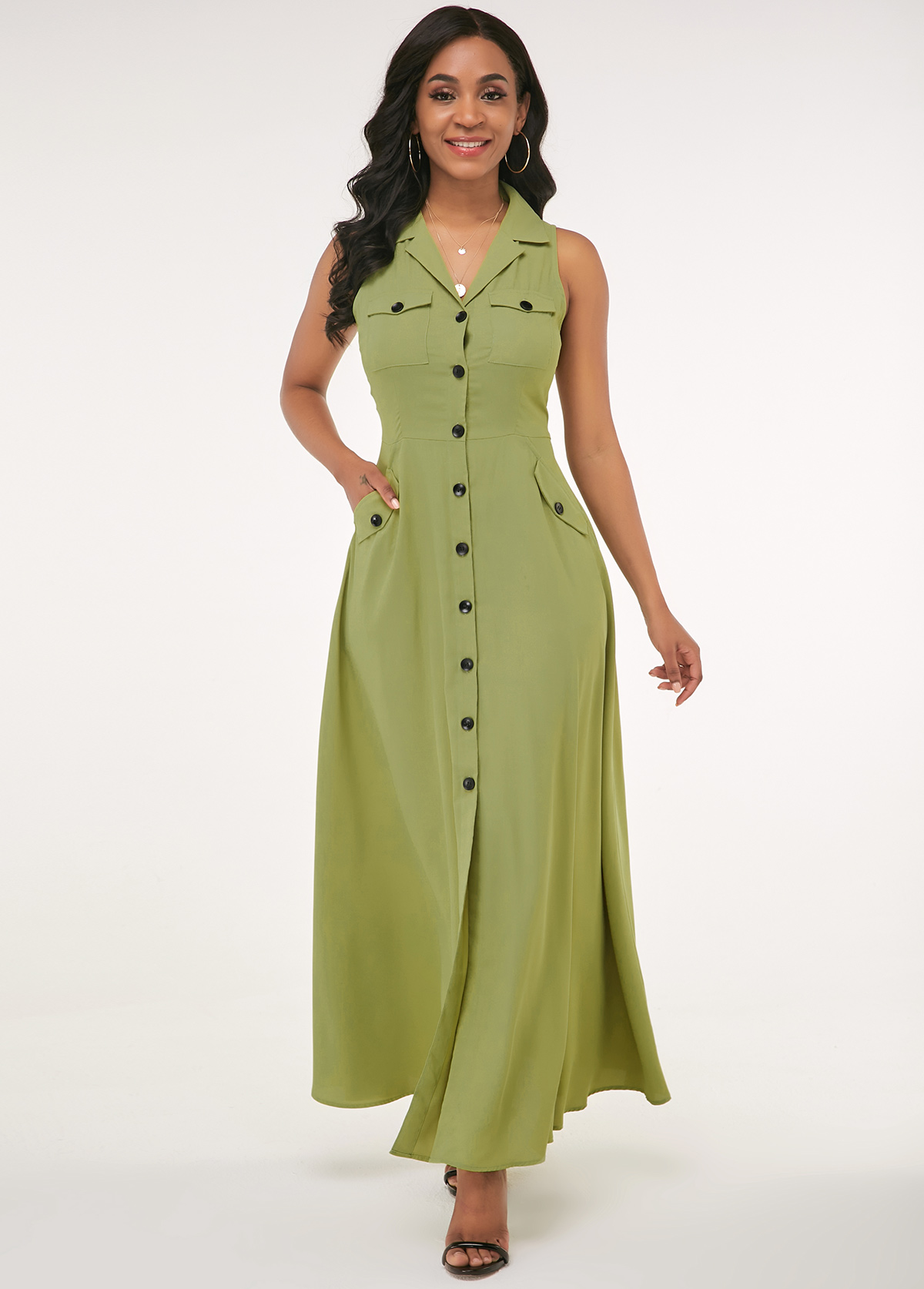Side Pocket Button Up Turndown Collar Maxi Dress