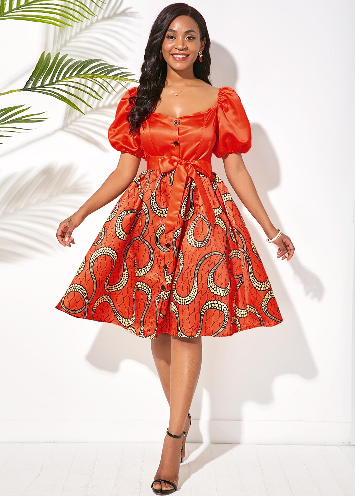 Puff Sleeve Printed Button Front Belted Dress