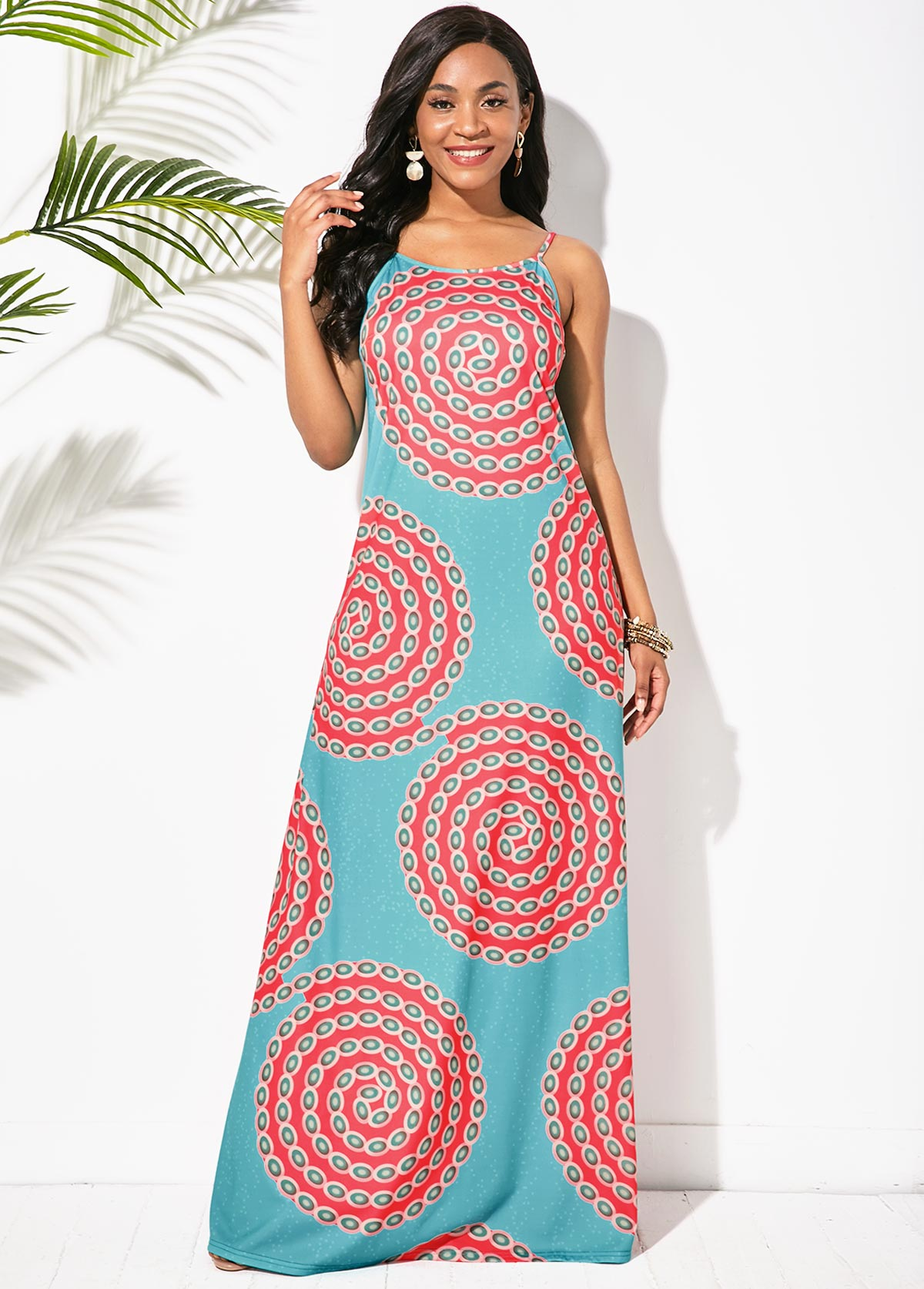 Sleeveless Tribal Print Round Neck Maxi Dress