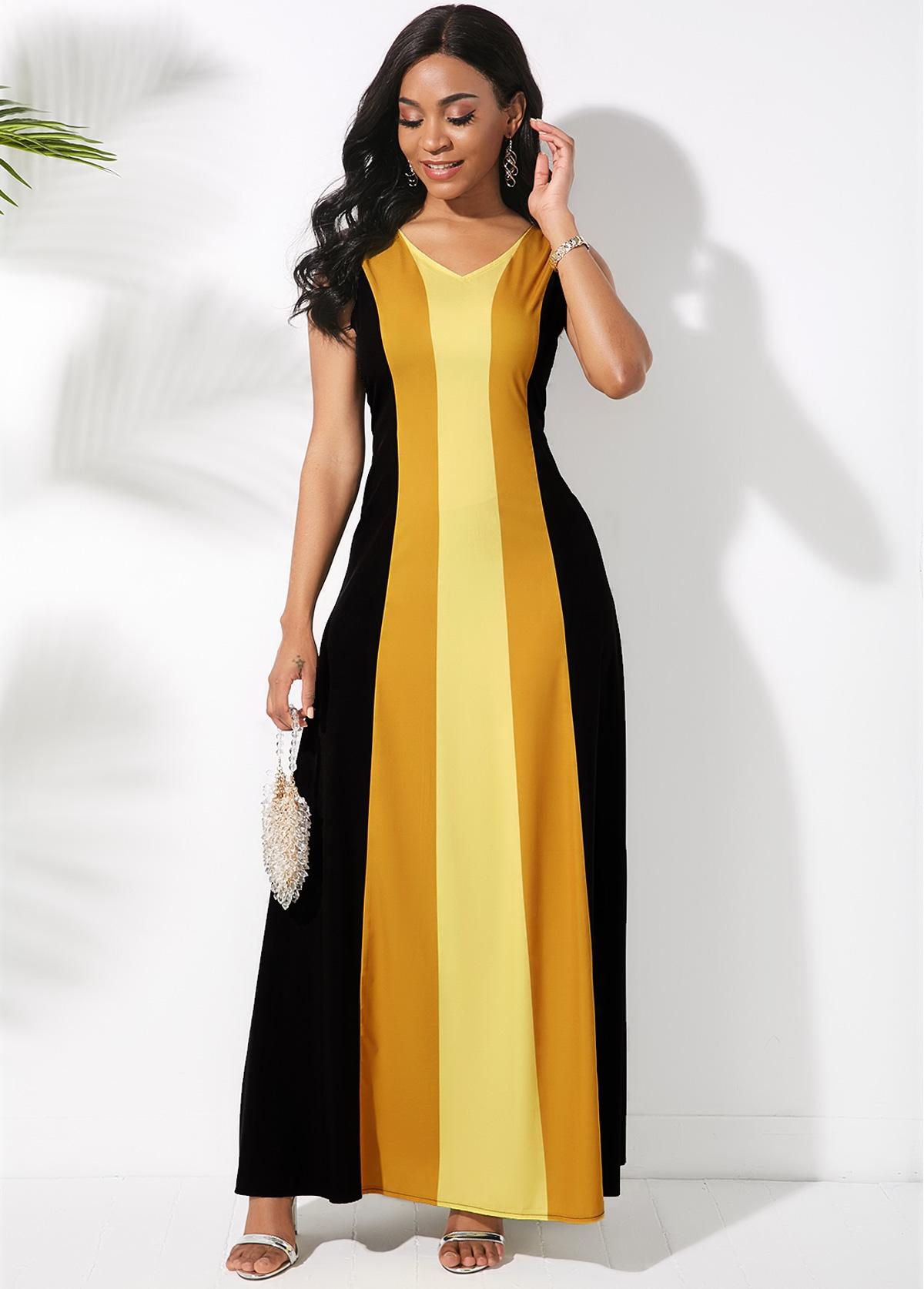 V Neck Sleeveless Color Block Maxi Dress