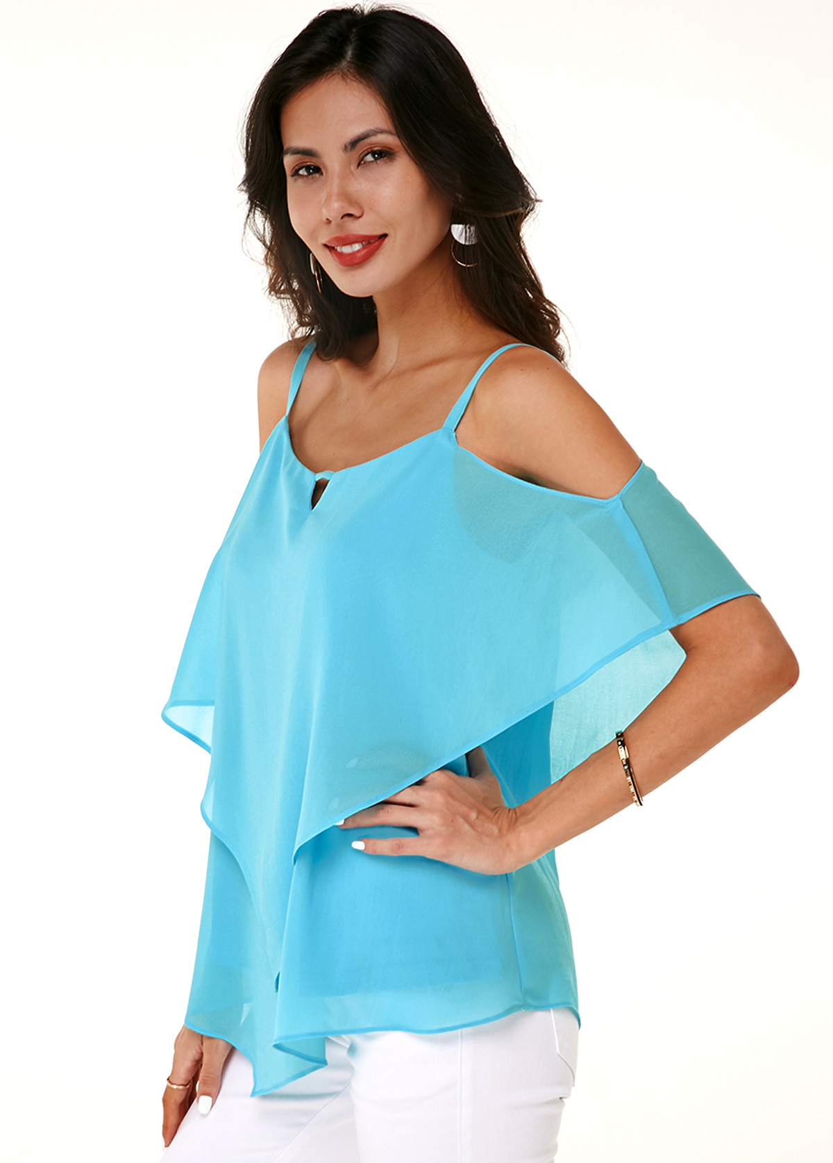 Layered Strappy Cold Shoulder Asymmetric Hem Soft T Shirt