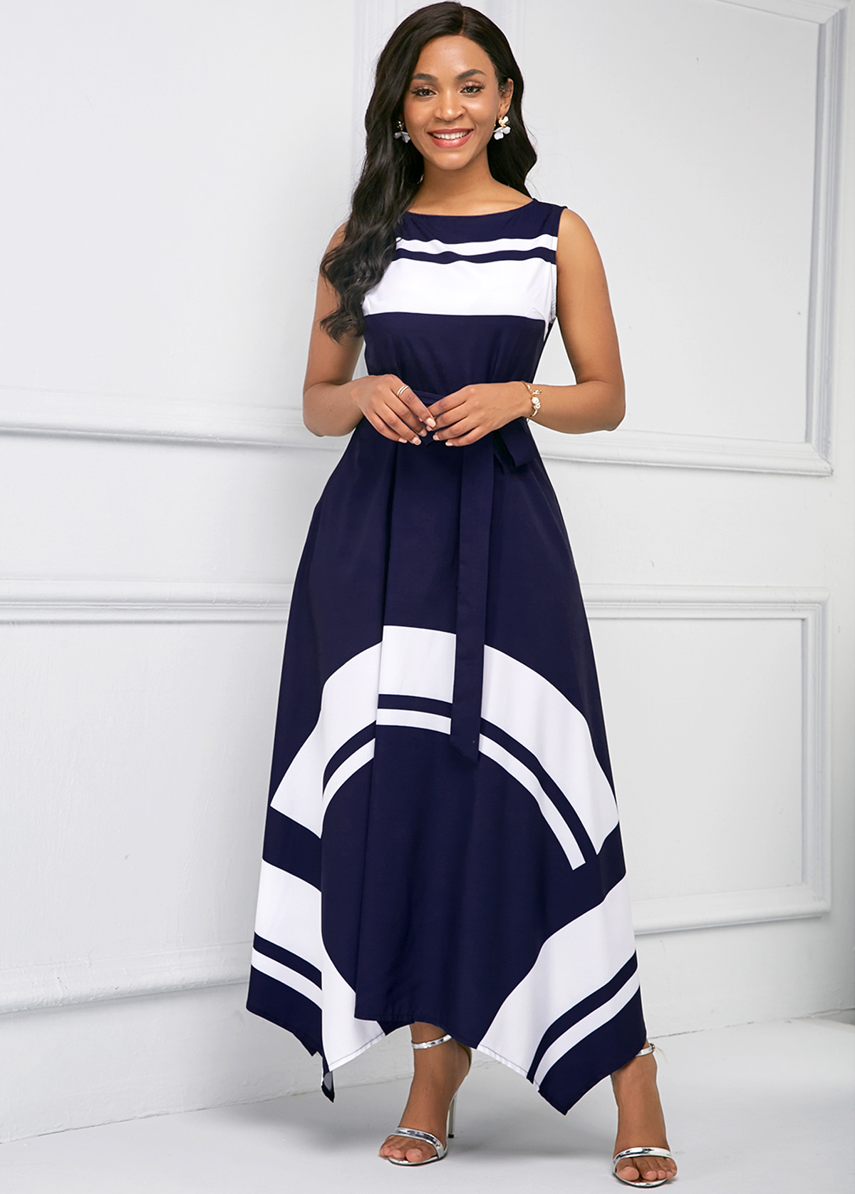 Asymmetric Hem Sleeveless Printed Maxi Dress