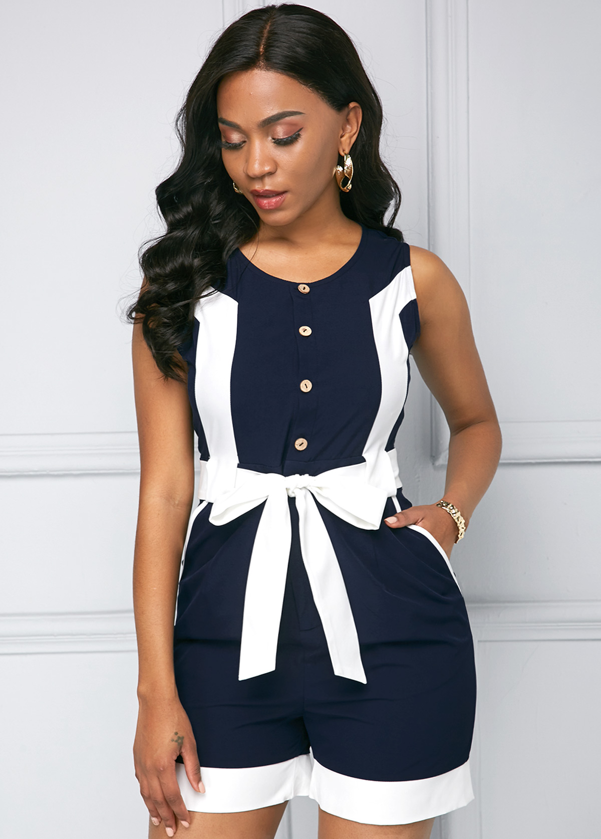 Button Detail Contrast Sleeveless Color Block Romper