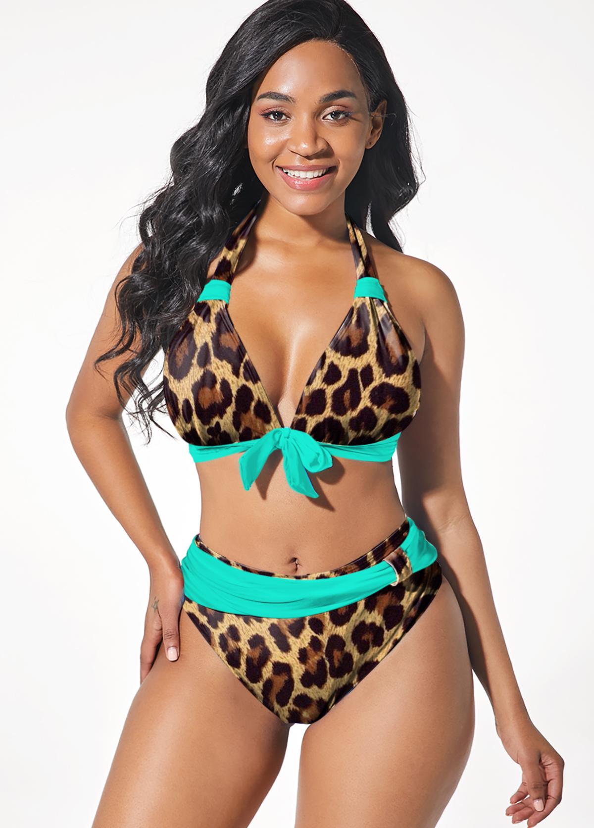 Leopard Bowknot Halter Brown Bikini Set