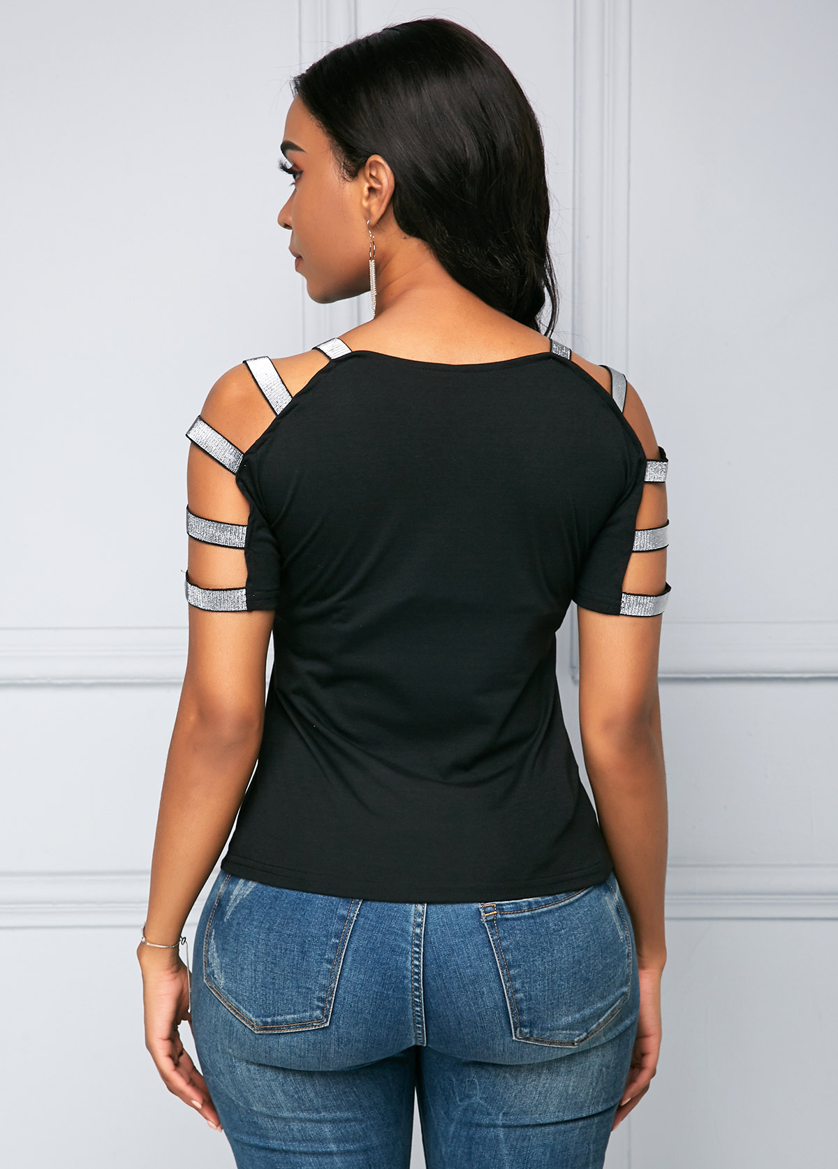Black Ladder Cutout Sequin Detail T Shirt