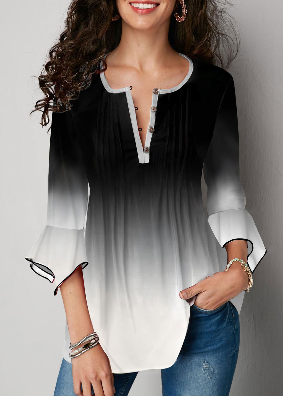 Button Up Gradient Flare Sleeve Blouse