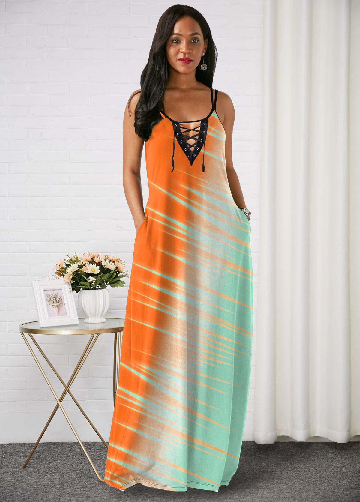 Lace Up Spaghetti Strap Color Block Maxi Dress