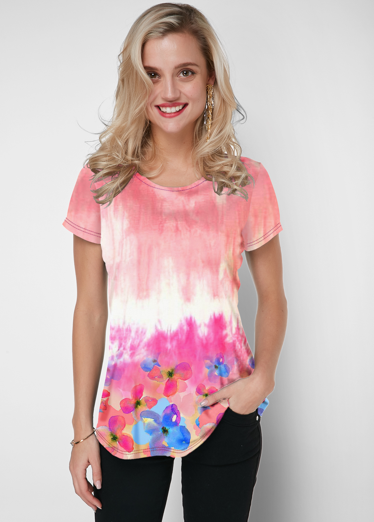 Round Neck Tie Dye Pink Short Sleeve T Shirt
