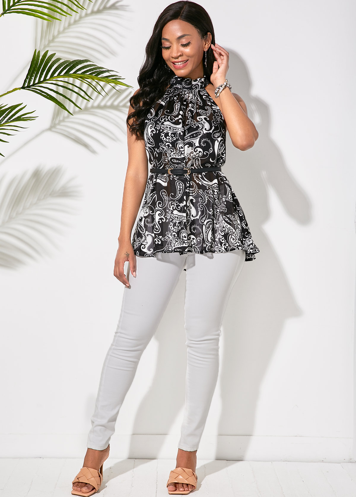 Belted Paisley Print Bib Neck Blouse