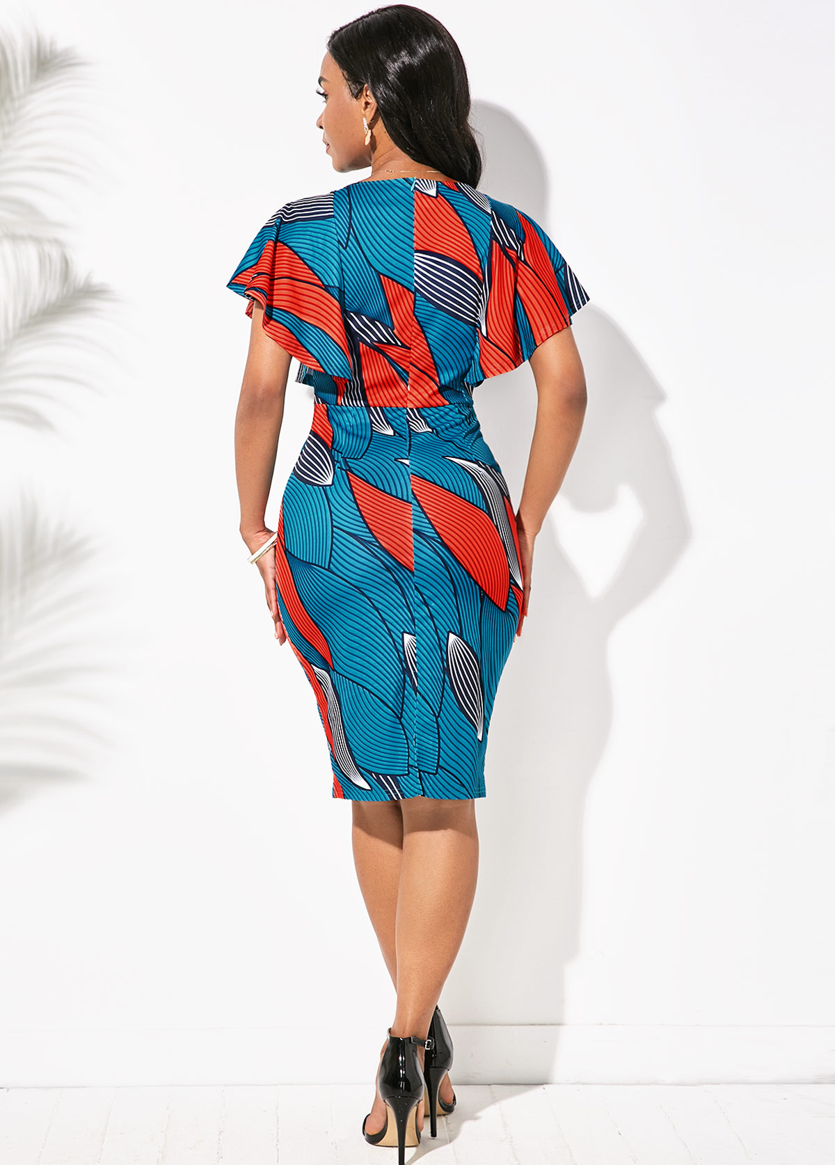 Butterfly Sleeve Round Neck Printed Dress