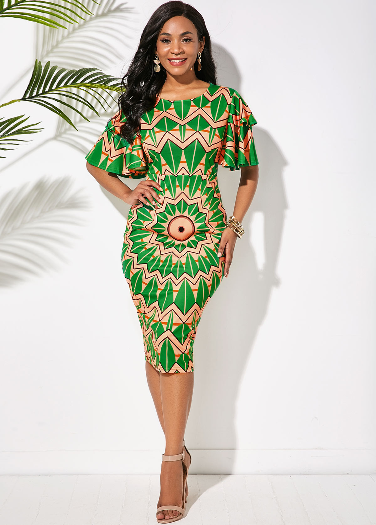 Round Neck Butterfly Sleeve Tribal Print Dress