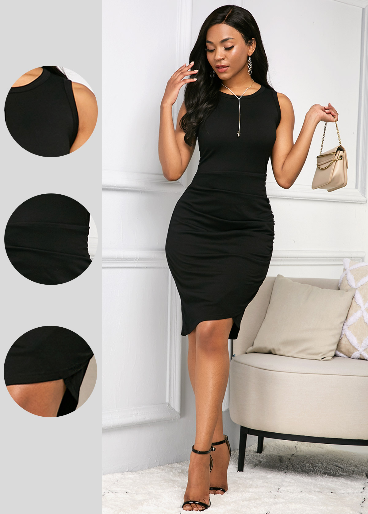 Round Neck Sleeveless Black Soft Dress