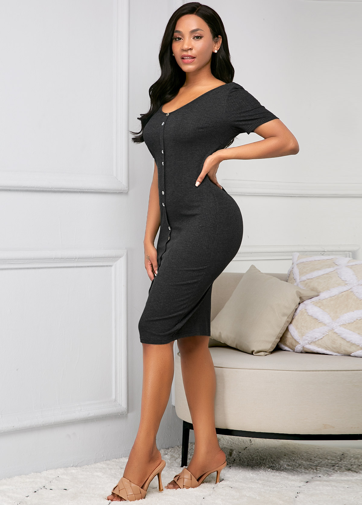 Short Sleeve Button Up Black Sheath Dress