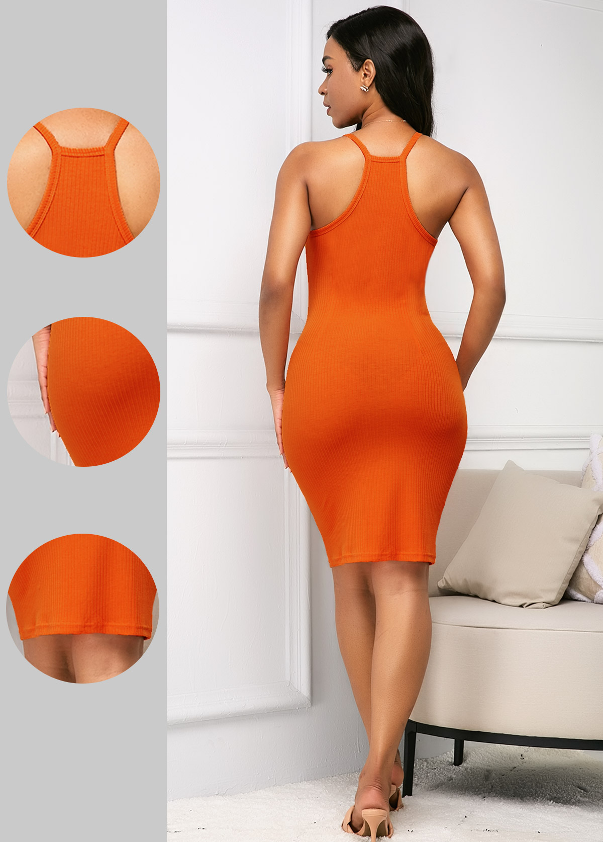 Orange Bib Neck Sleeveless Sheath Dress
