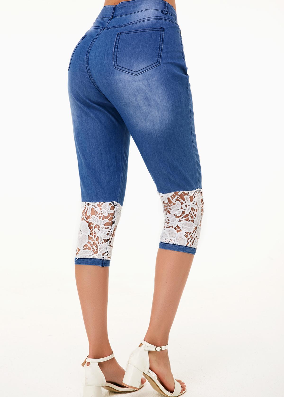 Denim Blue Lace Panel Contrast Design Jeans