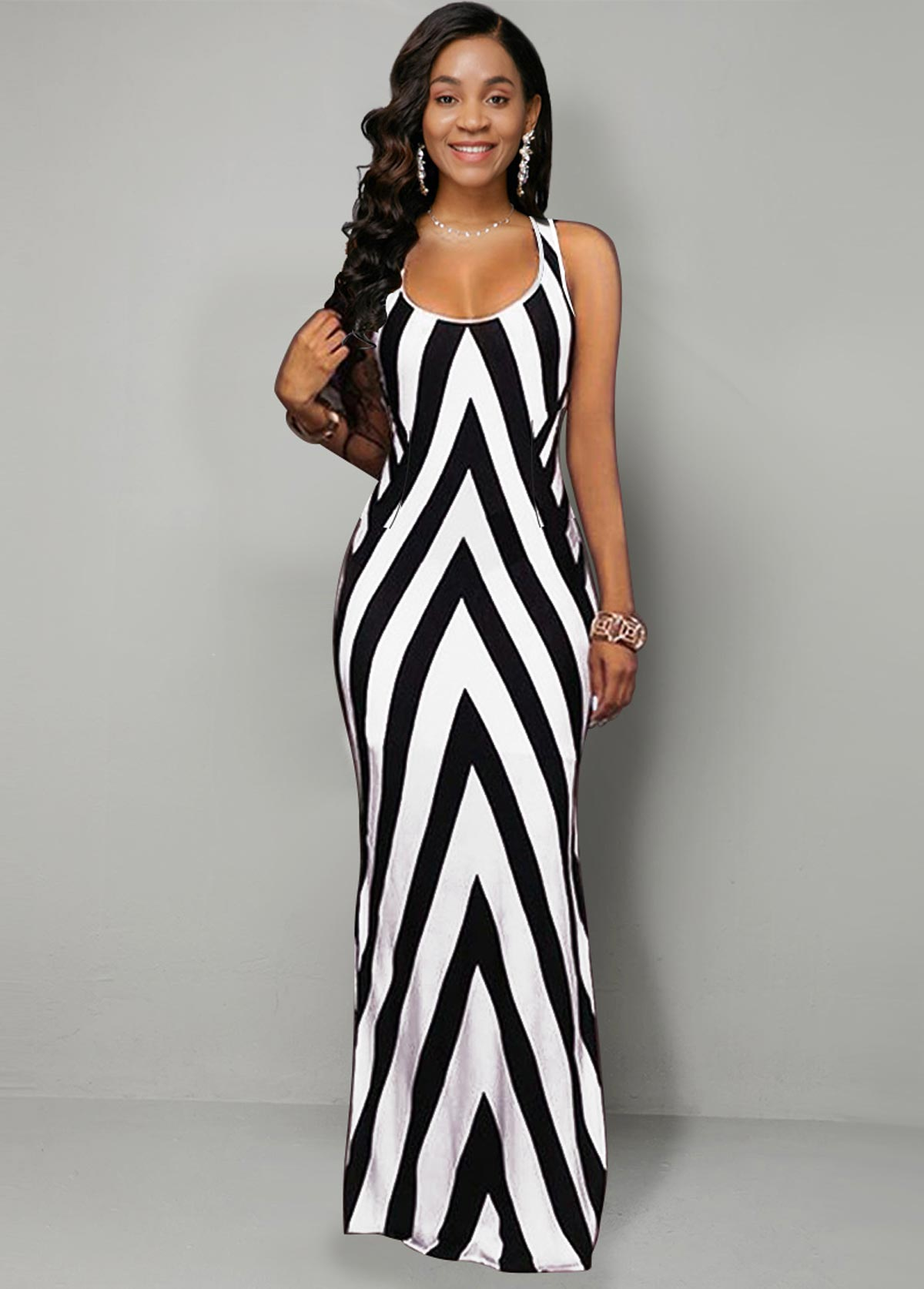 Side Slit Stripe Geometric Print Dress