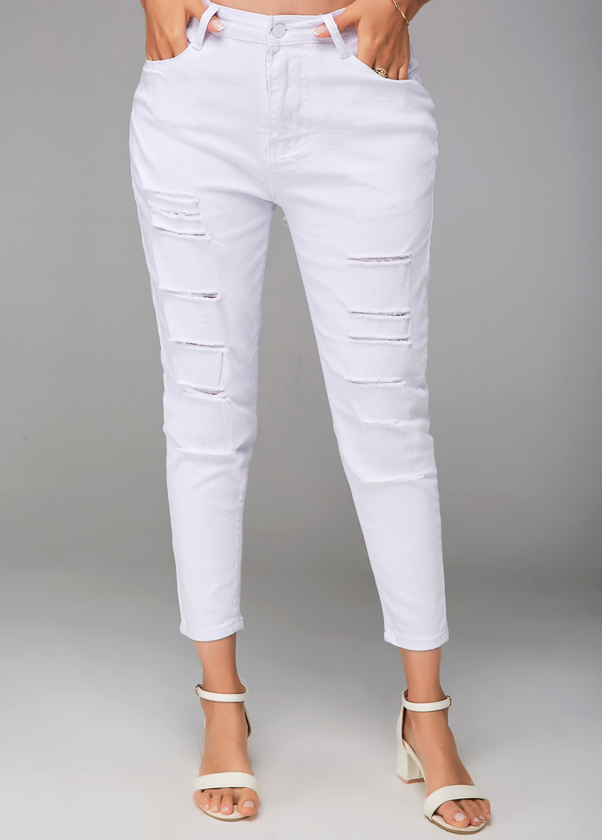 Cropped Shredded White Zipper Closure Pants