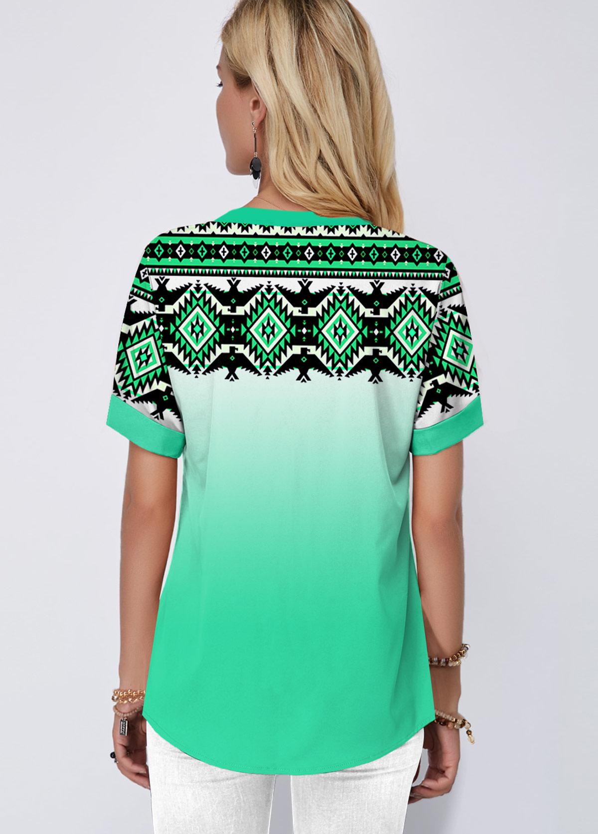 Green Tribal Print Gradient Blouse