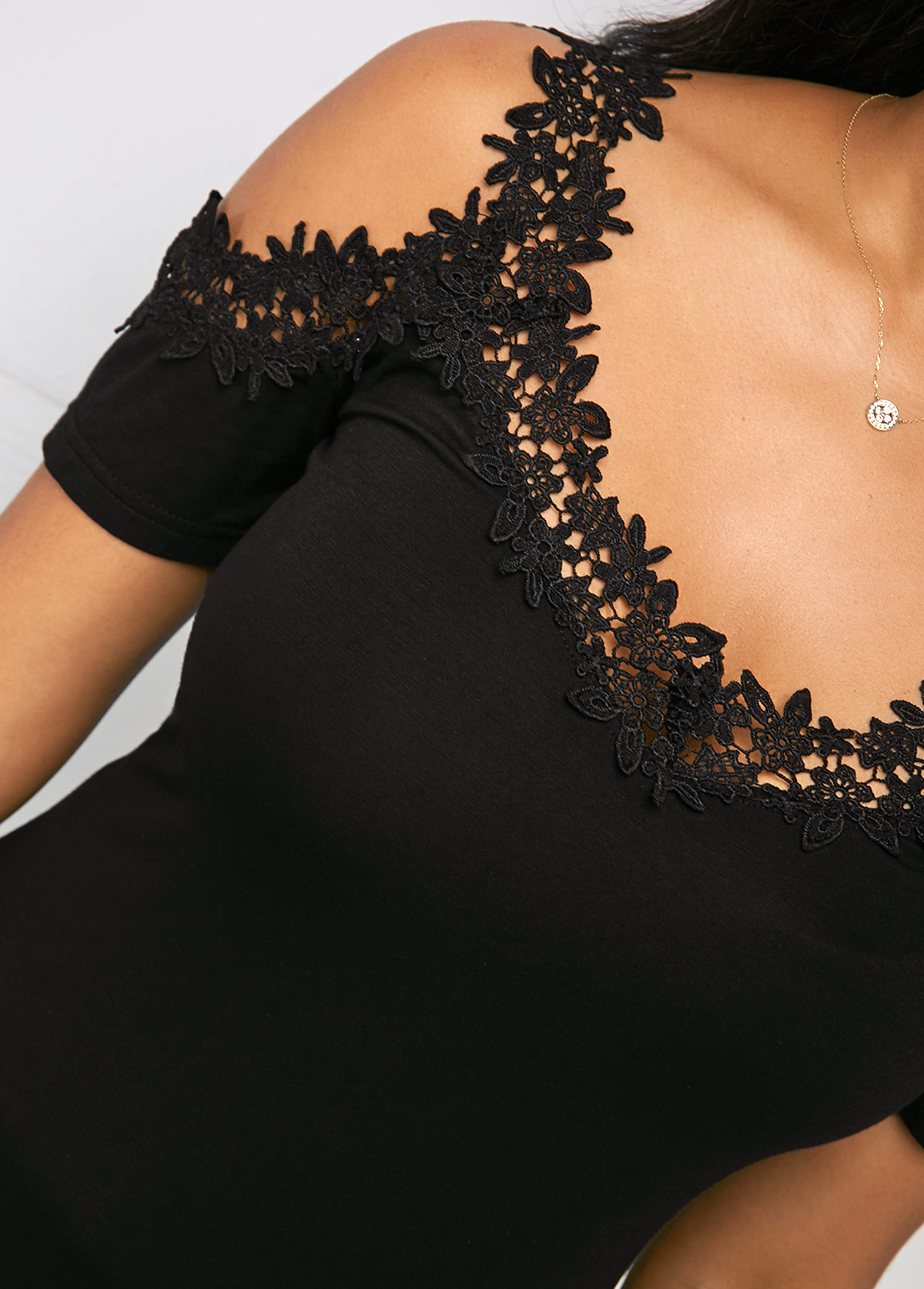 Black Cold Shoulder Short Sleeve Lace T Shirt