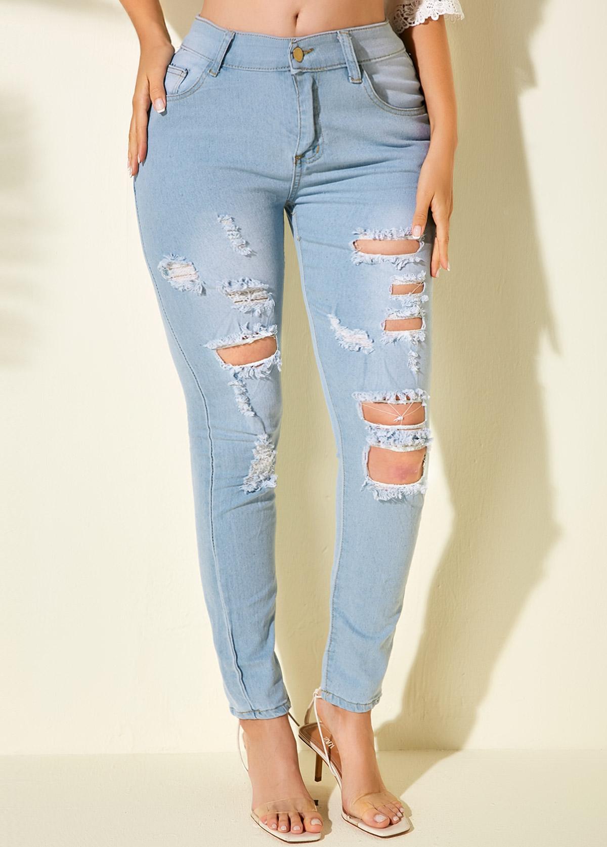Acid Washed Pocket Detail Shredded Jeans