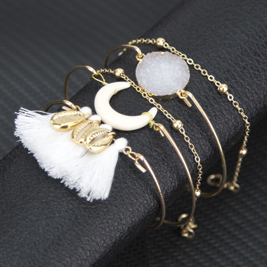 Tassel Embellished Gold Metal Crescent Shape Bracelet Set