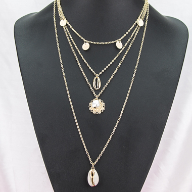 Gold Metal Seashell Pendant Layered Necklace