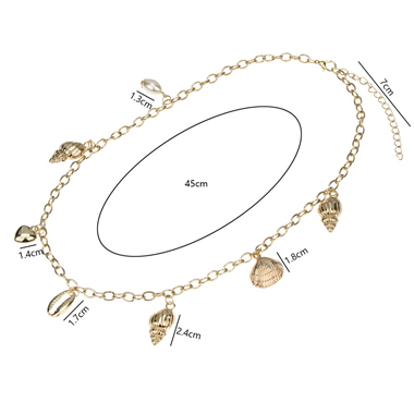 Gold Metal Chain Seashell Pendant Necklace