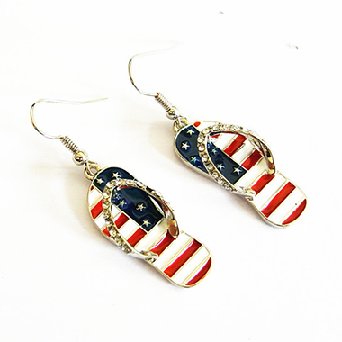 Metal American Flag Print Rhinestone Earrings