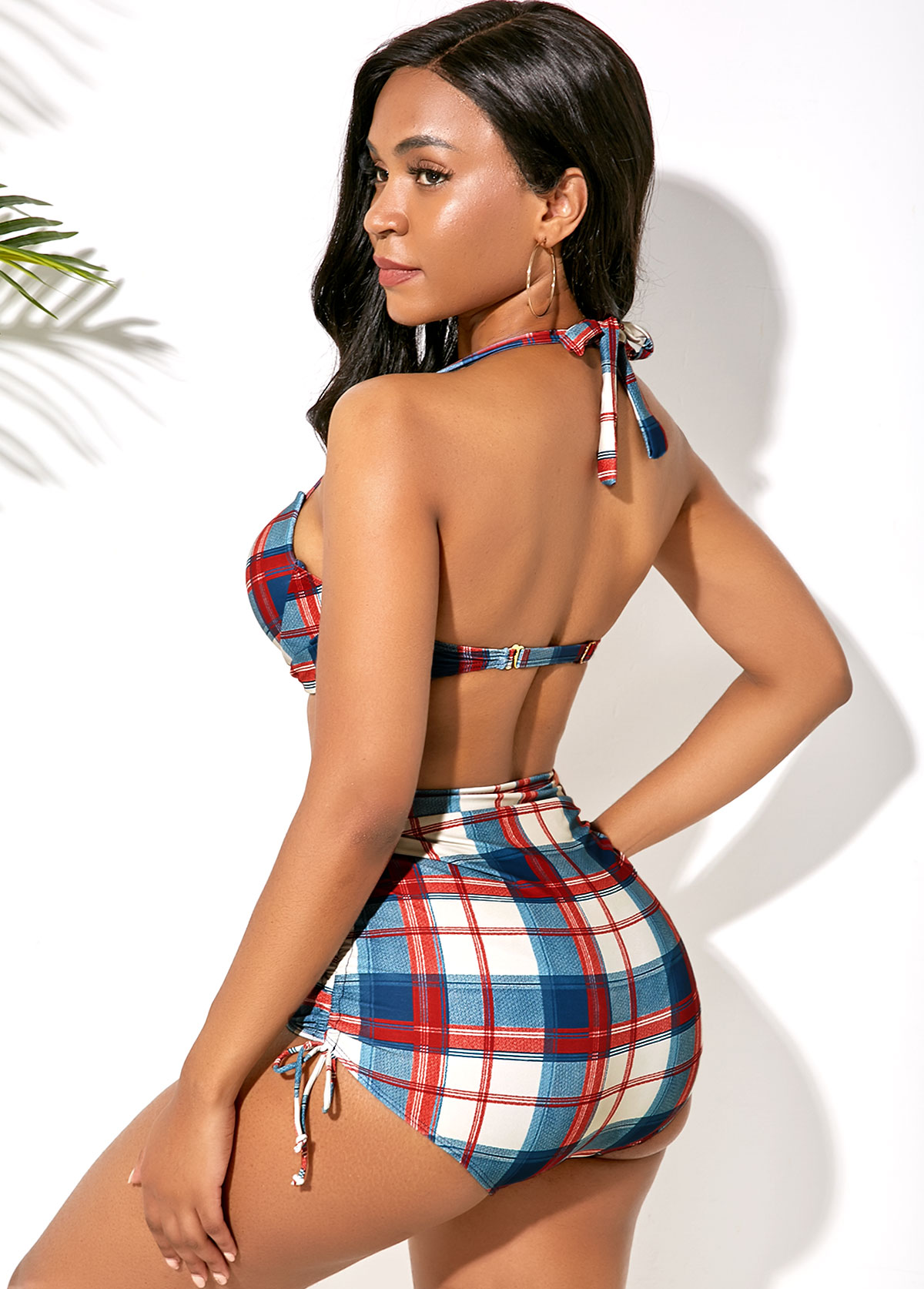 Halter Plaid Print Drawstring Side Bikini Set