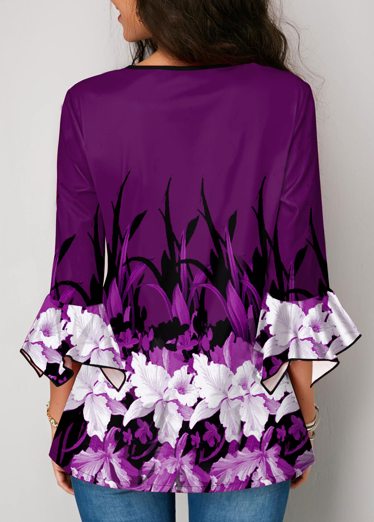 Purple Round Neck Button Up Flower Print Blouse