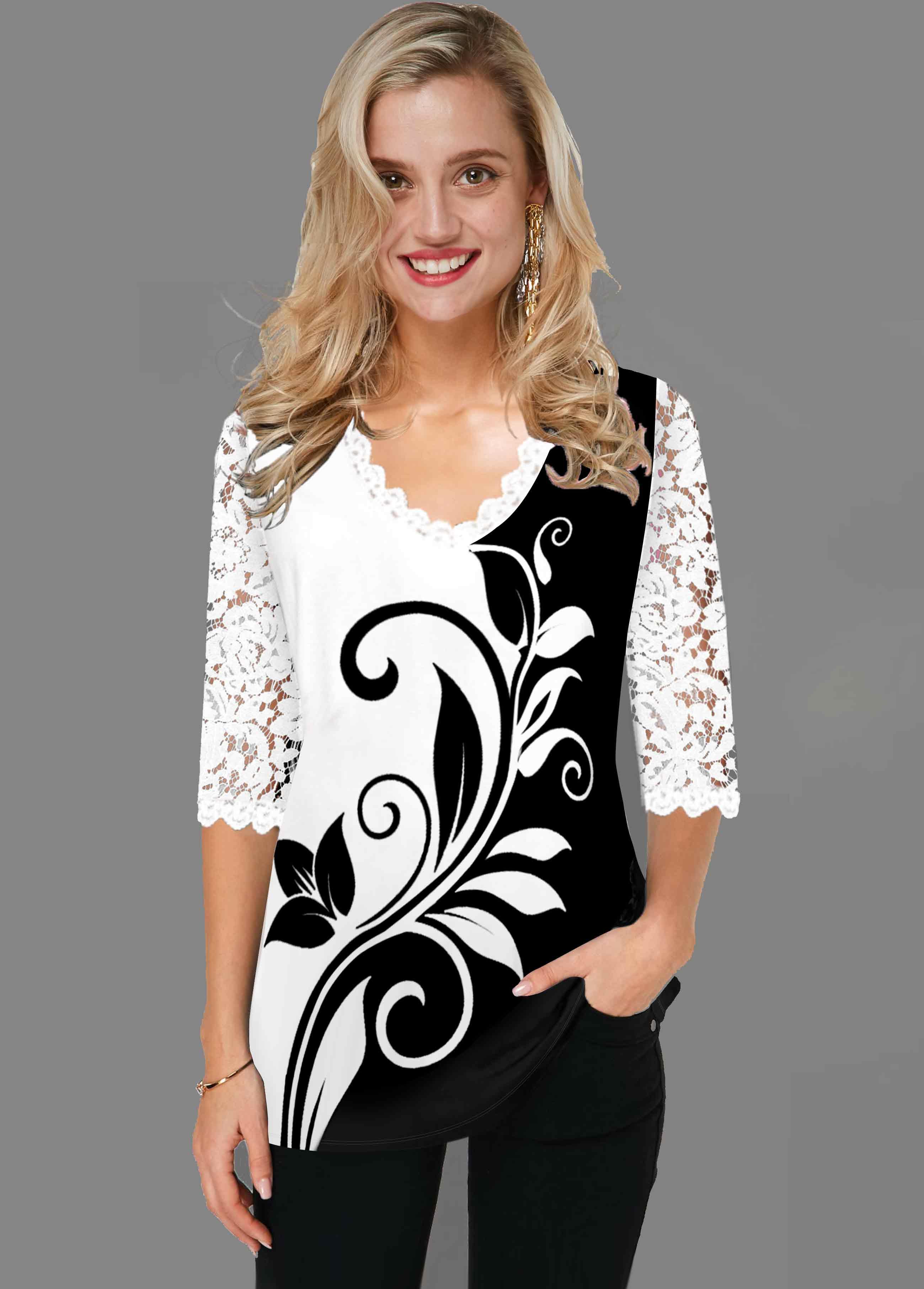 V Neck White Lace Panel T Shirt