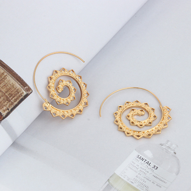 Gold Metal Spiral Design Earring Set