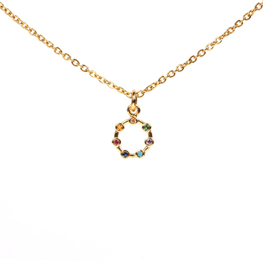 Women's Rhinestone Embellished Metal Chain Necklace