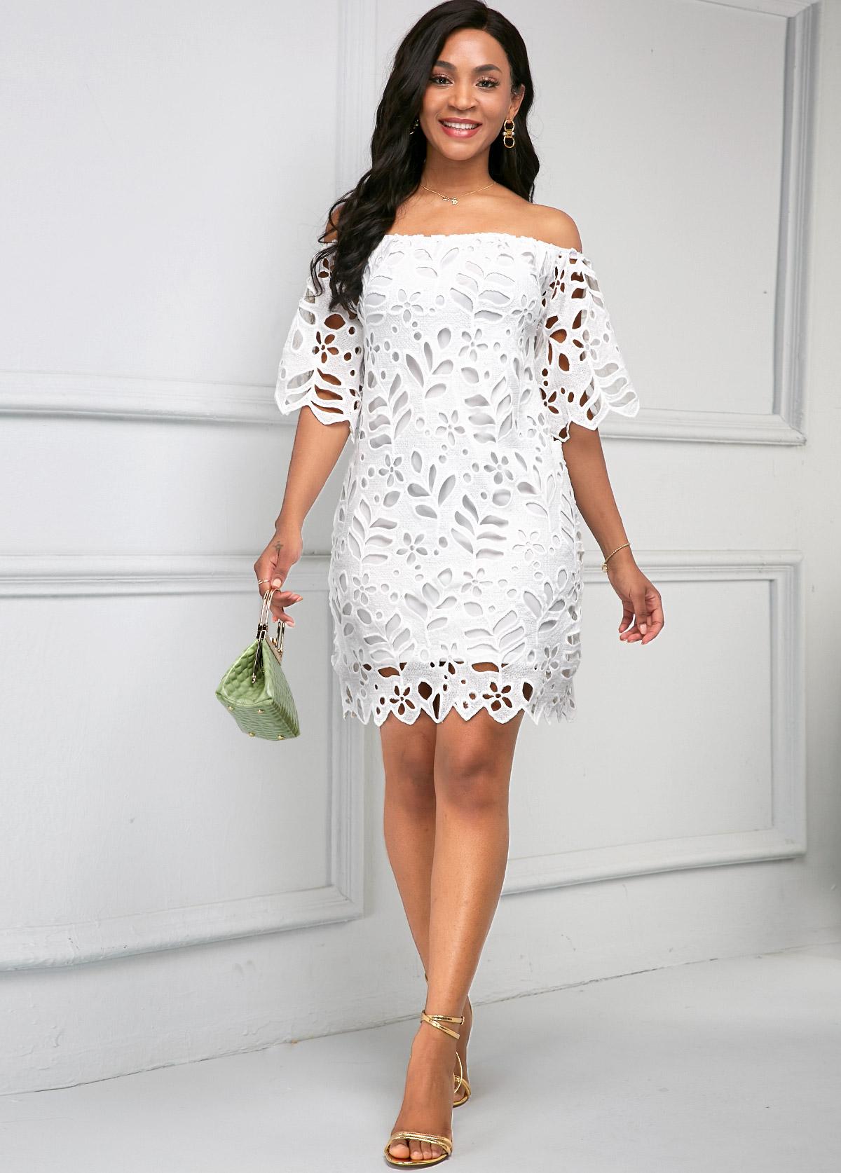 Pierced Off Shoulder Half Sleeve Dress