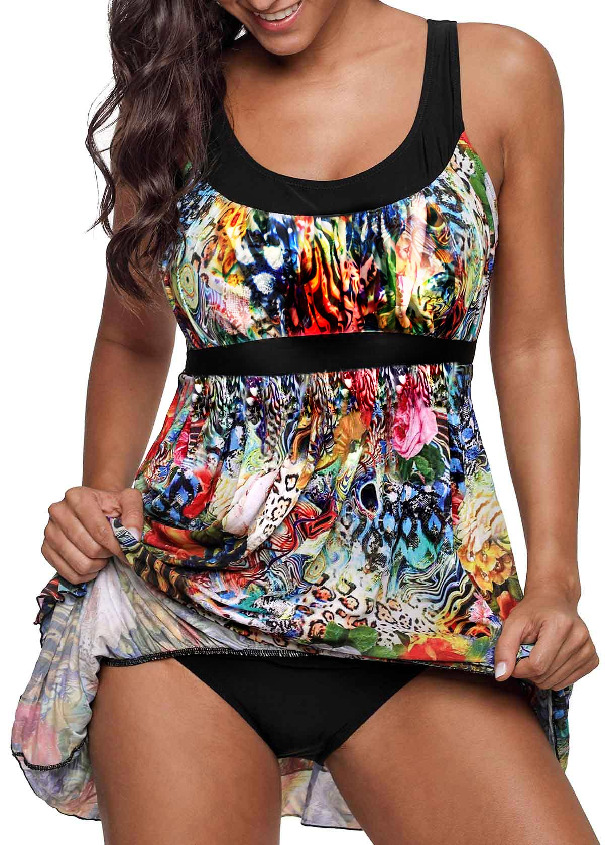 Layered Hem Scoop Back Printed Swimdress and Panty
