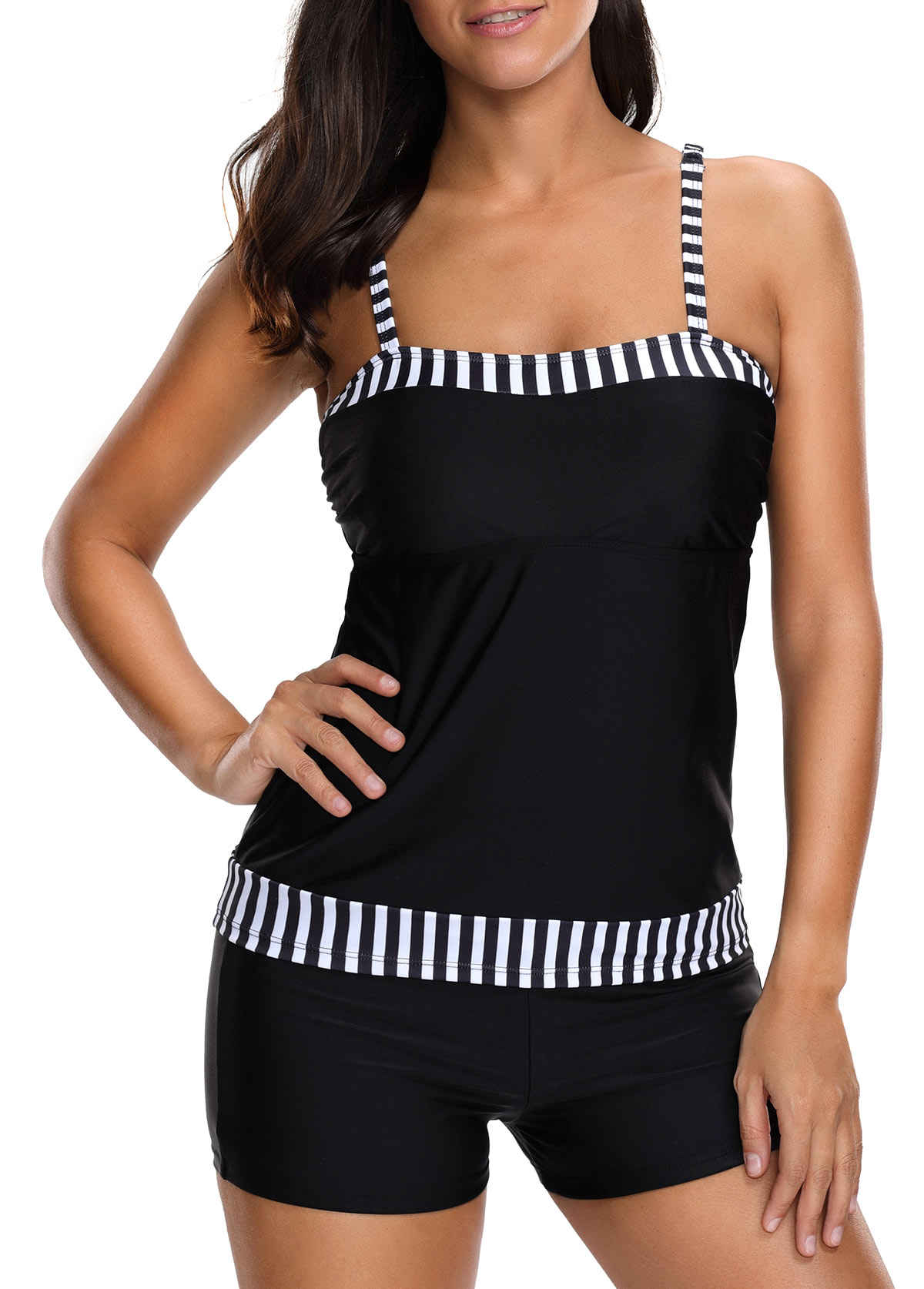 Monochrome Stripe Spaghetti Strap Tankini Top and Shorts